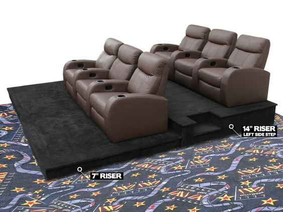 DIY stadium seating for the home theater room.
