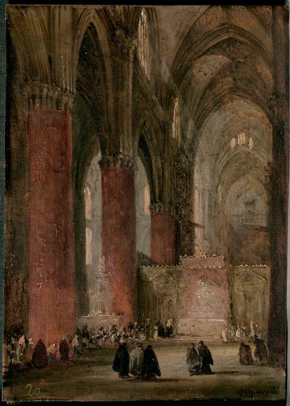 Interior de la catedral de sevilla d ptico con 42 vistas monumentales de ciudades espa olas - Catedral de sevilla interior ...