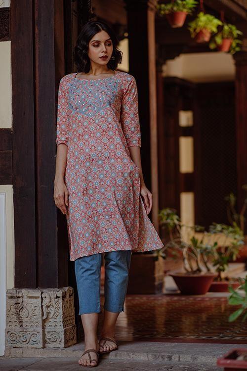 Okhai Sasmira Applique Cotton Kurta Kurti Designs Latest Kurti Designs Indian Fashion
