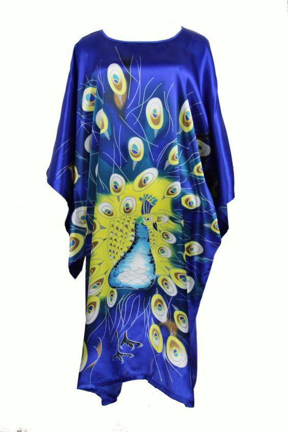 Pas cher Vintage bleu chinois femmes de soie rayonne Robe Sexy vêtements de nuit Kimono Bath Robe lâche salon chemise de nuit une taille S014 K, Acheter  Peignoirs de qualité directement des fournisseurs de Chine:    Matériel:     Satin rayonne polyester       Taille     : Une taille       Couleur     : Bleu    17 Diffé