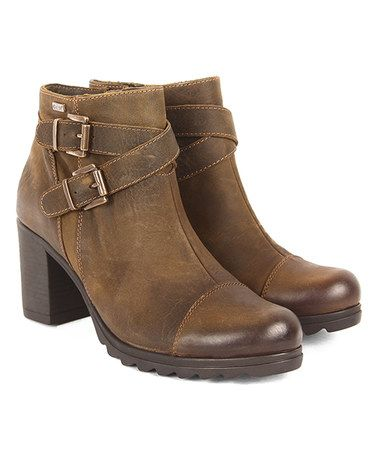 Loving this Khaki Dual-Buckle Leather Bootie on #zulily! #zulilyfinds