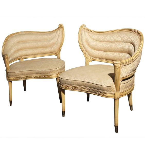 Vintage Hollywood Regency One-Armed Chairs by Prince Howard Furniture of KC, Mo | From a unique collection of antique and modern chairs at https://www.1stdibs.com/furniture/seating/chairs/: