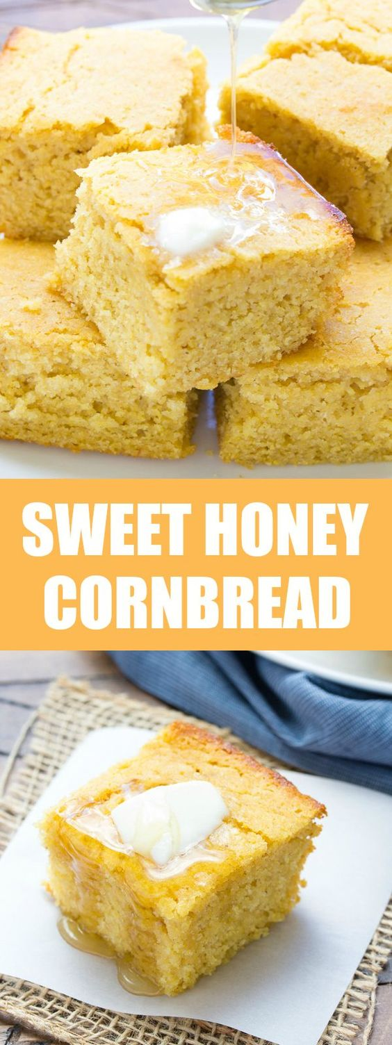 Sweet Honey Cornbread! Whole grain and SO EASY to make! | http://www ...