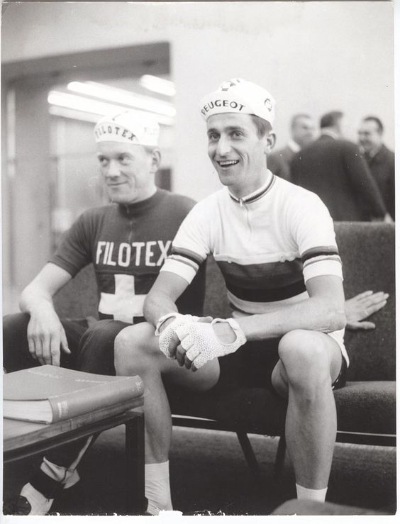 Tom Simpson at the 1965 Tour of Lombardy.  http://www.cyclingweekly.co.uk/news/latest-news/tom-simpsons-world-championships-win-50-years-on-205234