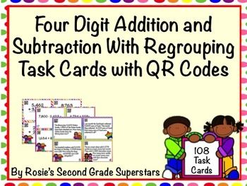 4 Digit Addition and Subtraction with Regrouping Task Card Bundle ...