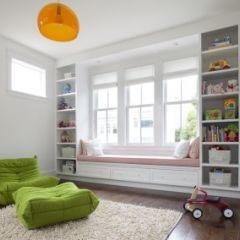 window seat and shelves