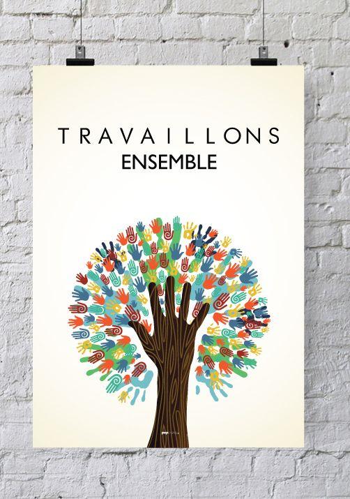 Affiche pour salle de r union travaillons ensemble for Decoration salle de reunion