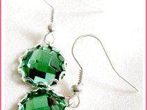 Ohrringe Grünes Glas Silbern CLARKIkind