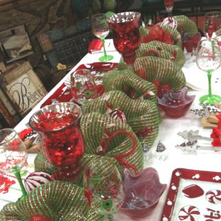 Deco poly mesh Christmas table runner