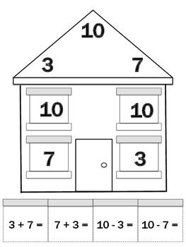 math worksheet : fact family houses cut  paste worksheets for interactive math  : Interactive Math Worksheets