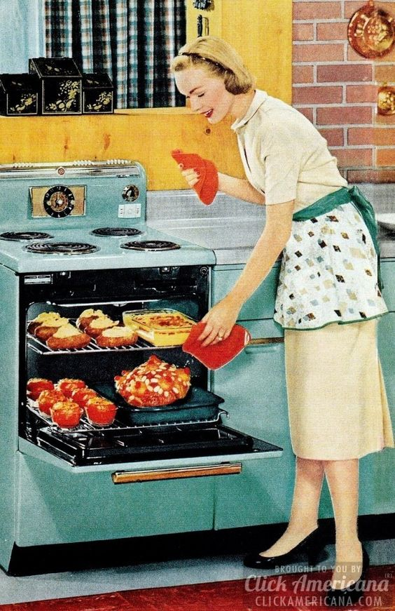 [My mother had a stove almost like this - she loved it! I also found this on a Hallmark card to give to her] How to be a perfect fifties housewife: In the kitchen: