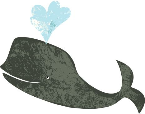 Cute textured whale on white background