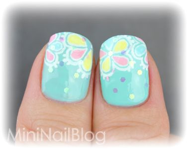 Mini Nail Blog: Colourful Flower Nail Art ☆