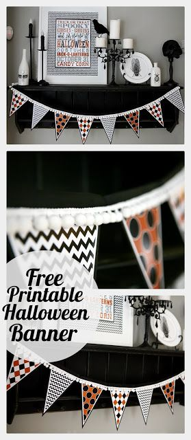 Fun Halloween garland - just add a pom pom trim to the free printable!