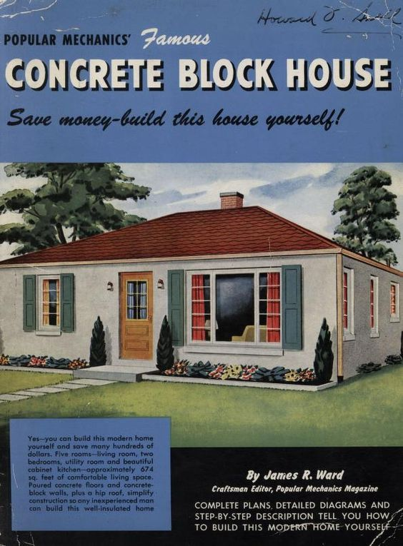 Concrete Block Houses 1948 Popular Mechanics From The Association For Preservation Technology Apt Cinder Block House Concrete Blocks Popular Mechanics