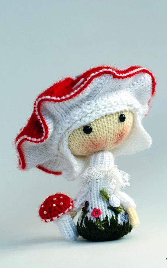 Amanita muscaria Doll - pdf knitting pattern....(such a cute mushroom design....would look so adorable in fabric, too!!)...