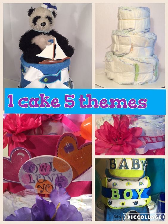 5 easy to make Diaper cakes from a simple 3 layer