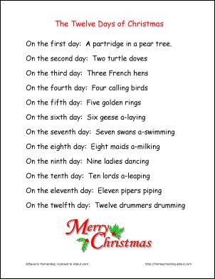 The First Day Of Christmas Lyrics.Twelve Days Of Nugget Shooting Lyrics Page 2 Detector