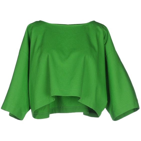 Maison About Blouse (€92) ❤ liked on Polyvore featuring tops, blouses, crop tops, green, green top, 3/4 length sleeve tops, 3/4 sleeve tops, jacquard top and 3/4 sleeve blouse