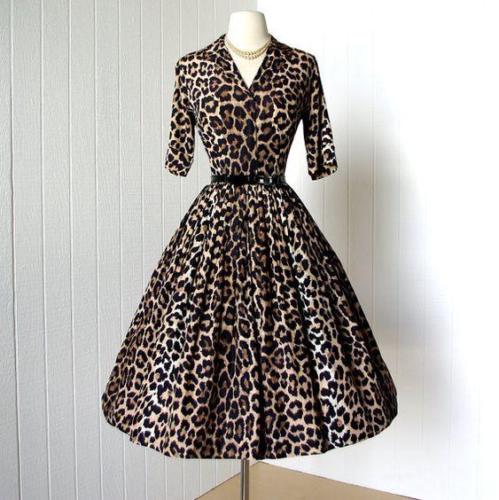 vintage 1950s dress ...meowww PARADE NEW YORK leopard full skirt pin-up shirtwaist dress