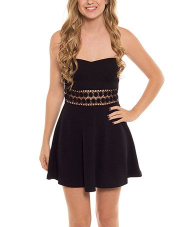 Another great find on #zulily! Black Open-Embroidered Strapless Dress #zulilyfinds