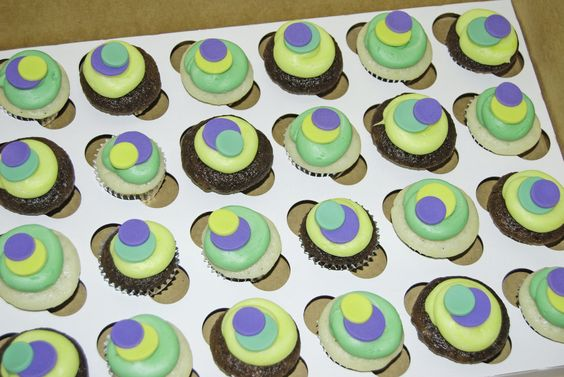 purple green and yellow sassy circle mini cupcakes for a work place baby shower | Flickr - Photo Sharing!