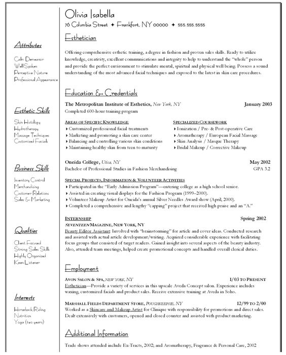 Sample Resume For Psychology Graduate -    wwwresumecareer - esthetician sample resume