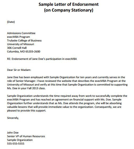 Simple Endorsement Letter Sample Beautiful 26 Sample Endorsement
