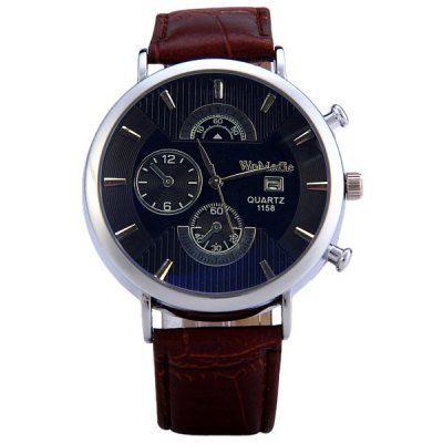 $5.13 (Buy here: http://appdeal.ru/agu1 ) WoMaGe 1158 Round Dial Quartz Watch for Male Delicate Water Resistant PU Men Wristwatch for just $5.13