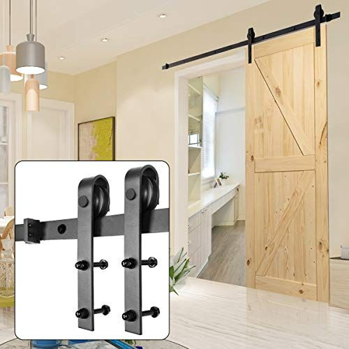 Homedex Sliding Barn Door Hardware Kit Black 6 6ft J Stee Https Www Amazon Com Dp B0822gcdkh Ref Cm Sw R Pi In 2020 Sliding Door Hardware Barn Door Diy Barn Door