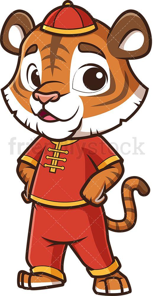 Cute Chinese New Year Tiger Cartoon Clipart Vector Friendlystock Cartoon Tiger Animal Clipart Free Cartoon Clip Art