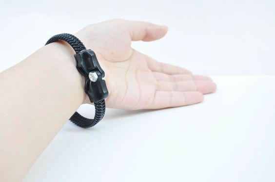 1 Wrapped statement bracelet metal rock by SakuraZIPPERjewelry, $39.00