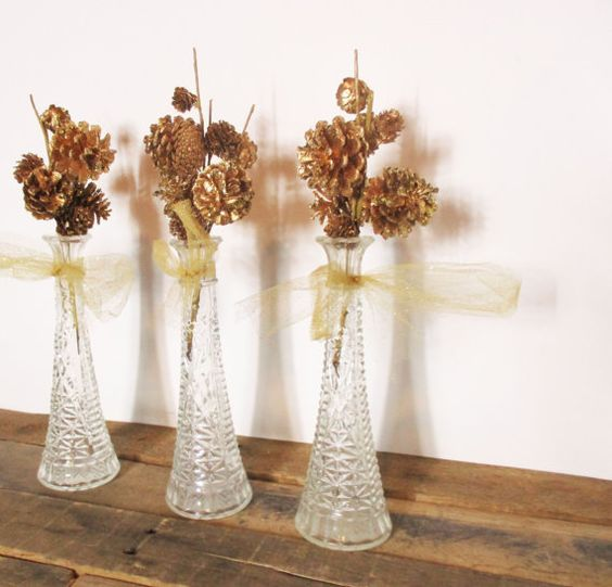 Set of Three Vintage Clear Geometric Vases for a Gold Vintage Holiday Centerpiece <3