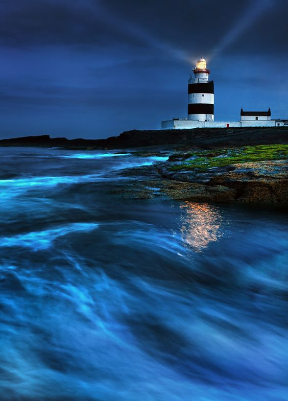 Hook Head Lighthouse, Waterford Bay, County Wexford, Ireland, an almost intact medieval (early 13th century) lighthouse. Great image captured by Stephen Emerson, via 500px [Please keep photo credit and original link if reusing or repinning. Thanks!]