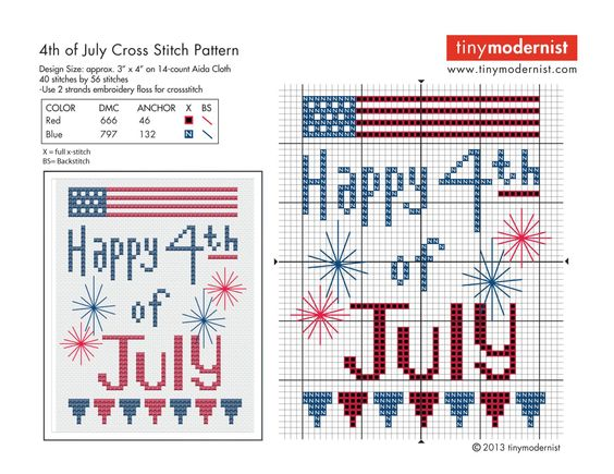 4th of july cross stitch with color key: