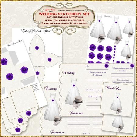 Wedding Dress Top Hat Purple Roses Wedding Stationery Set on Craftsuprint designed by June Young - A Wedding stationery set comprising, Invitations, Evening Invitations, Place Cards, Thank You Cards, two styles of wedding cake/wedding favour boxes, a background sheet and a decoupage sheet.The invitations are 3-fold, the back panel being the RSVP card that your guests return to you. These invitations have a scalloped edge and an ivory damask background, they are decorated with a wedding…