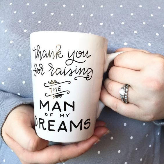 thank you for raising the man of my dreams / mother in law / mother of the groom / parents / custom wedding gift / mother's day mug.
