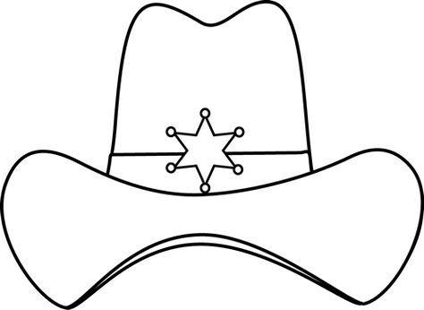 Sheriff Printable Black And White Sheriff Cowboy Hat Clip Art Image Black And White Cowboy Hat Crafts Wild West Theme Cowboy Crafts