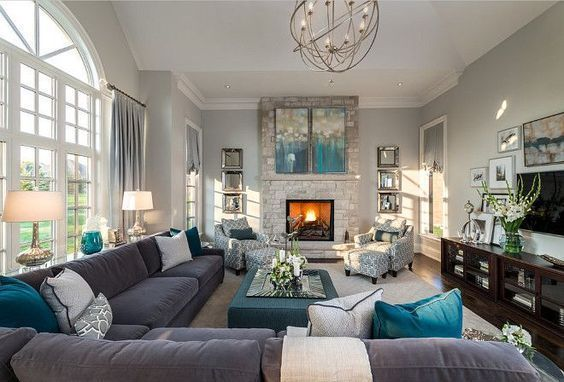 Living Room Decor Ideas Transitional Style With Gray And