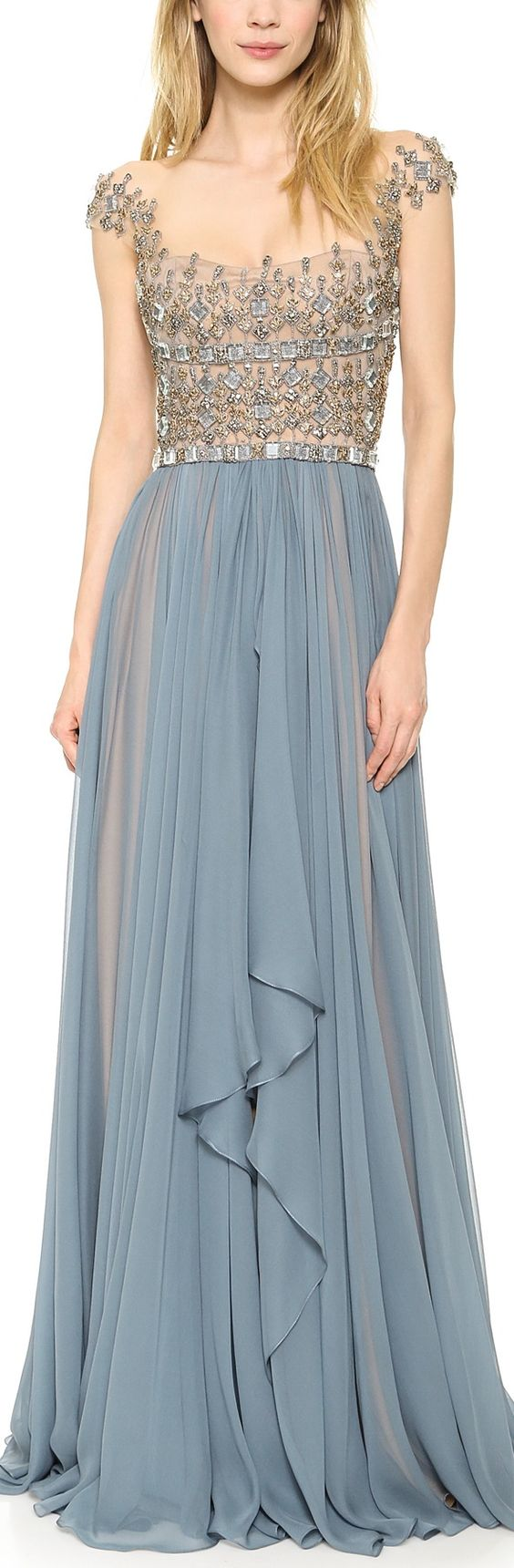 Reem Acra Embroidered Illusion Drop Shoulder Gown Blue Smoke: