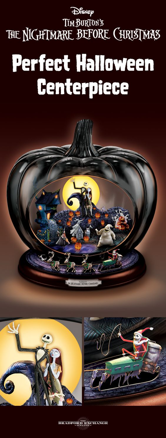 """Celebrate a movie masterpiece this Halloween when you ghoulishly grace your home with the first-of-a-kind Disney The Nightmare Before Christmas Pumpkin Sculpture. Handcrafted of art glass, this spooky centerpiece lights up at the flick of a switch to reveal a fully-dimensional scene inside the pumpkin, while Jack and his Coffin Sleigh go 'round and 'round. It even plays """"This Is Halloween."""" It's a must for fans!"""