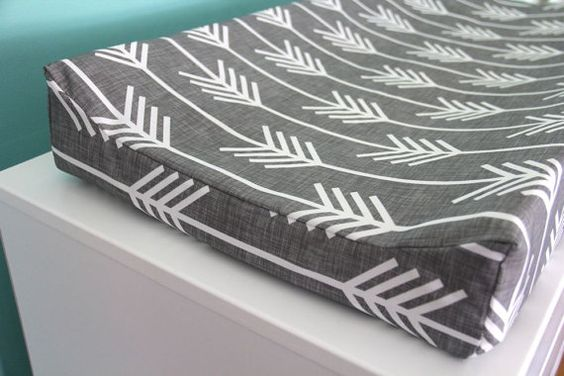 charcoal arrow contoured changing pad cover by iviebaby on Etsy, $35.00