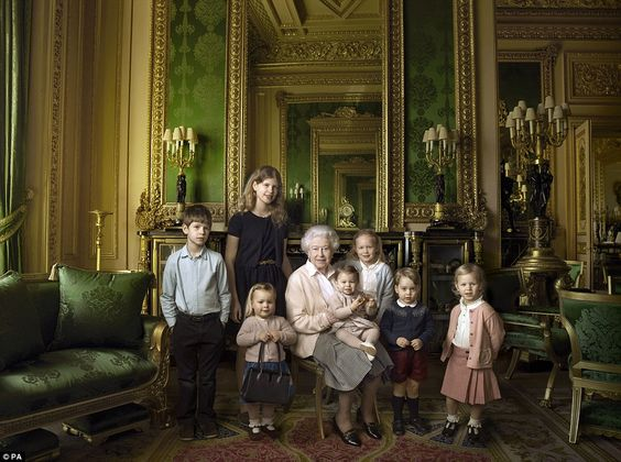 Taken by renowned American photographer Annie Leibovitz at Windsor Castle last month, these remarkable pictures have been released to mark the Queen's 90th birthday today. The first (pictured) shows Her Majesty surrounded by her grandchildren and great-grandchildren