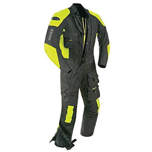 Joe Rocket Survivor Men S Waterproof 1 Piece Motorcycle Riding Suit Black Hi Viz Neon X Large Suits One Piece Suit Motorcycle Race Suit