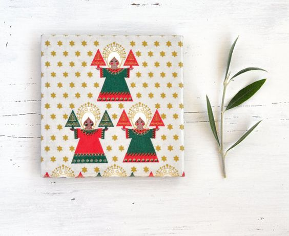 Christmas Coasters Festive Red Green and Gold  Folk Country Rustic Style Christmas Gift Hostess Gift Under 25, set of 4