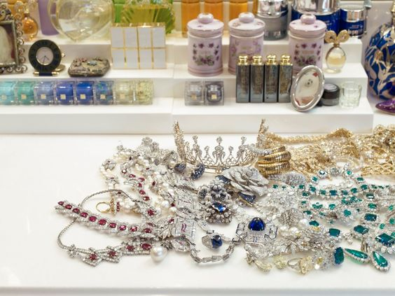 A pile of jewels in the actress's dressing room.: