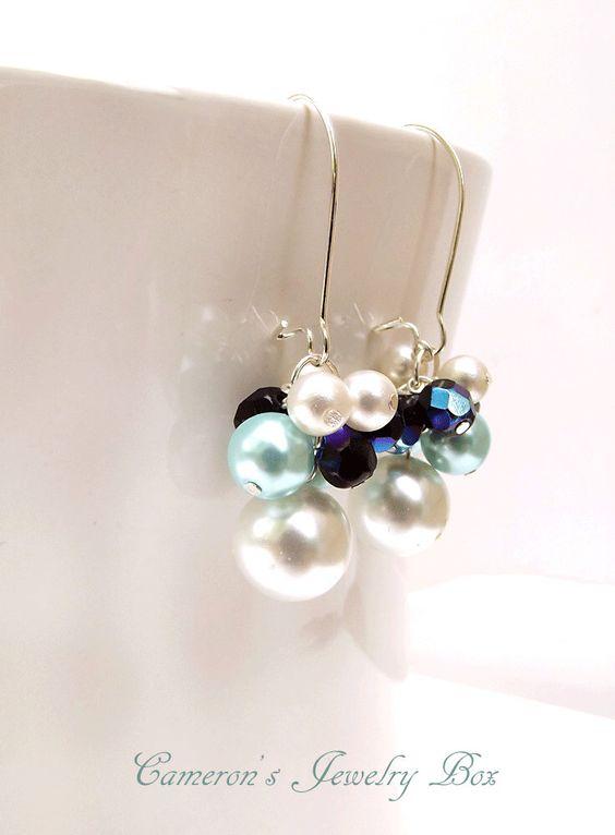 Wedding Earrings, Beaded Pearl Drop Earrings, Ivory & Sapphire Blue, Bridal Earrings, Bridesmaid Gift by CameronsJewelryBox on Etsy https://www.etsy.com/listing/122408648/wedding-earrings-beaded-pearl-drop