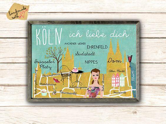 Neu A3  Retro Poster Köln - ich liebe dich Collage
