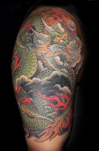 Japanese dragon half sleeve by andrea at slave to the for Tattoo parlors in tacoma