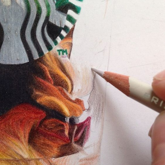 details of starbucks coffee in colored pencil by @itsbrogersyo on instagram